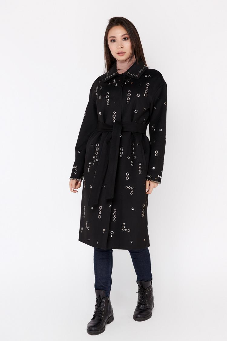 Пальто женское из кашемира черное, модель 1670