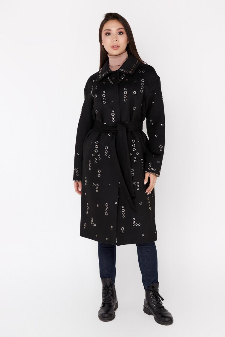 Пальта жіночі з кашеміру чорне, модель 1670