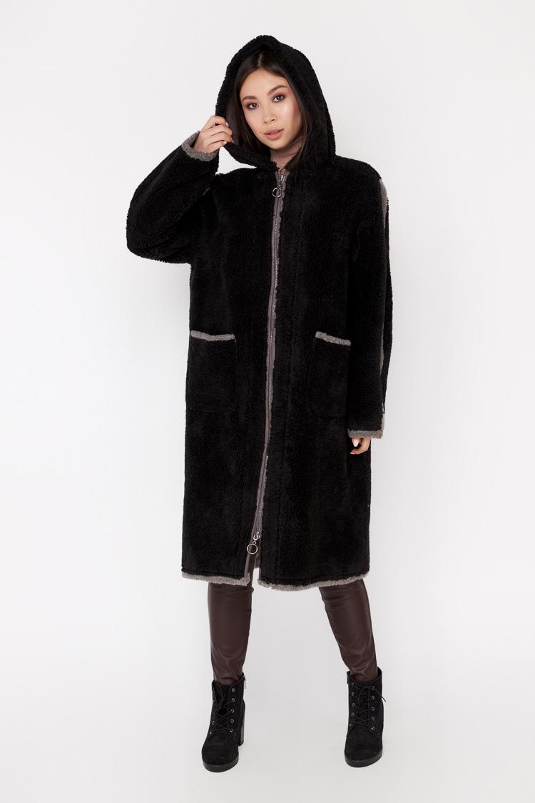 Пальто женское из шерсти мультиколор, модель EM-22/KPS