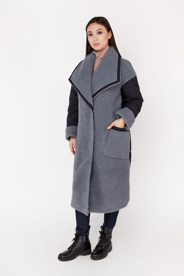 Пальто женское из шерсти серое, модель EM-59