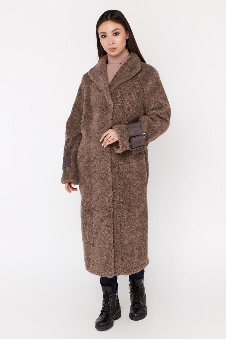 Пальто женское из шерсти серое, модель EM-23