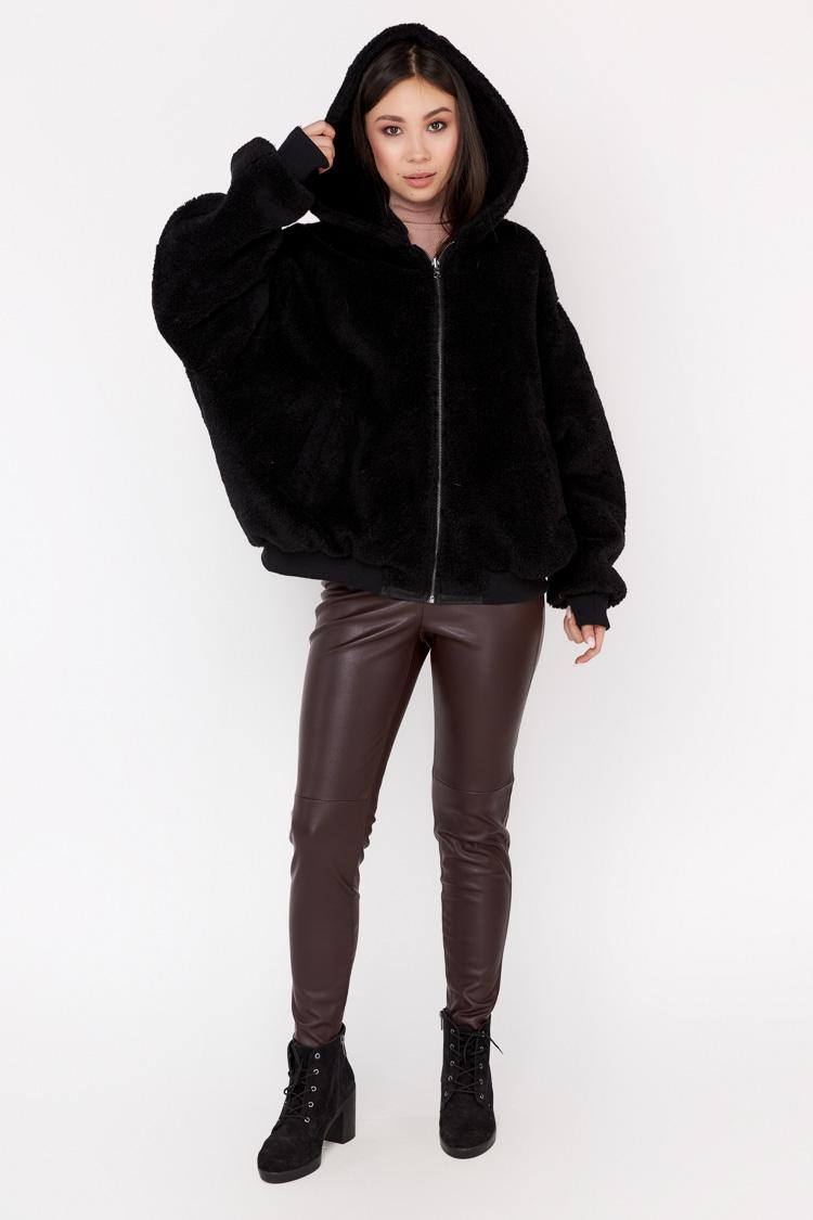 Пальто женское из шерсти черное, модель EM/KPS/двухст