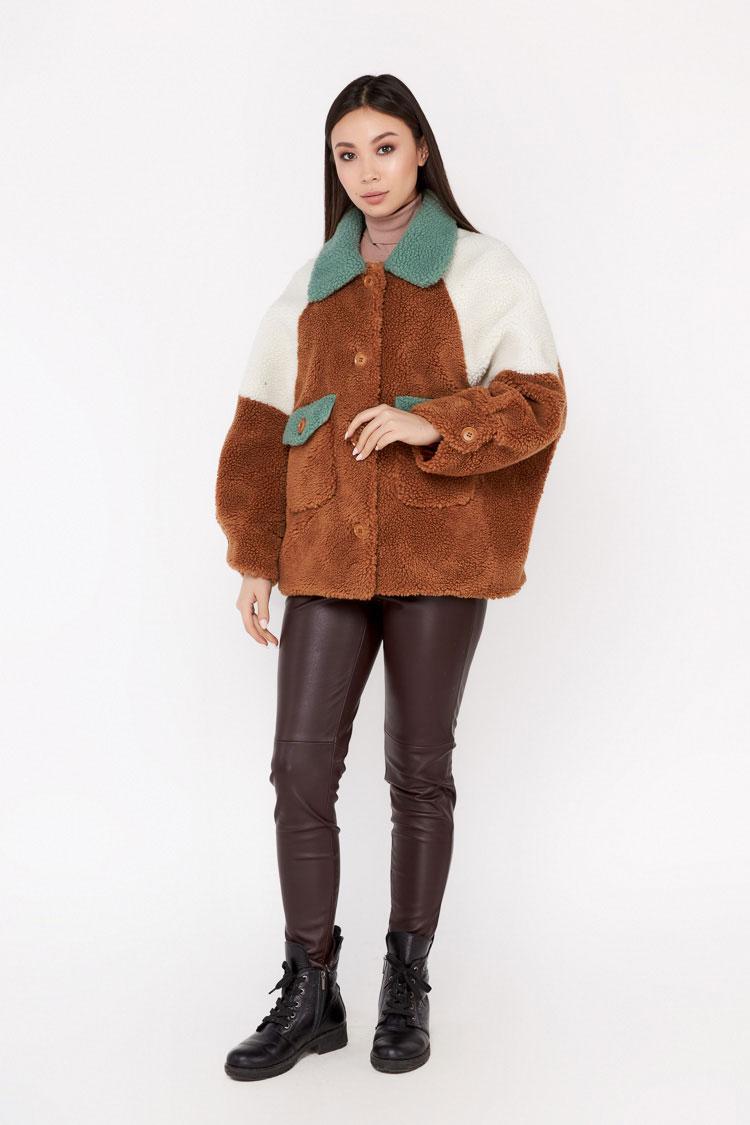 Пальто женское из шерсти мультиколор, модель EM-35