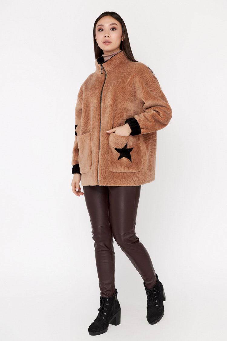 Пальто женское из шерсти бежевое, модель EM-52