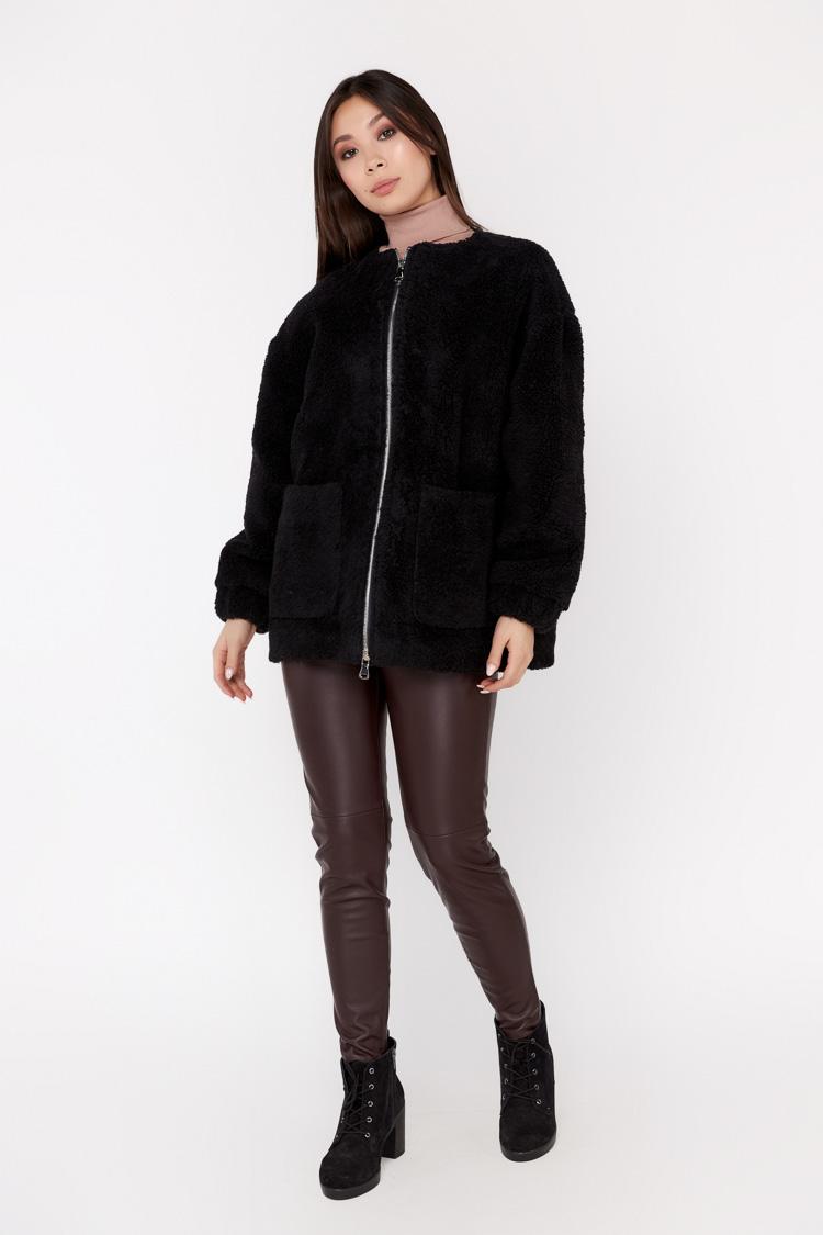 Пальто женское из шерсти черное, модель EM-32