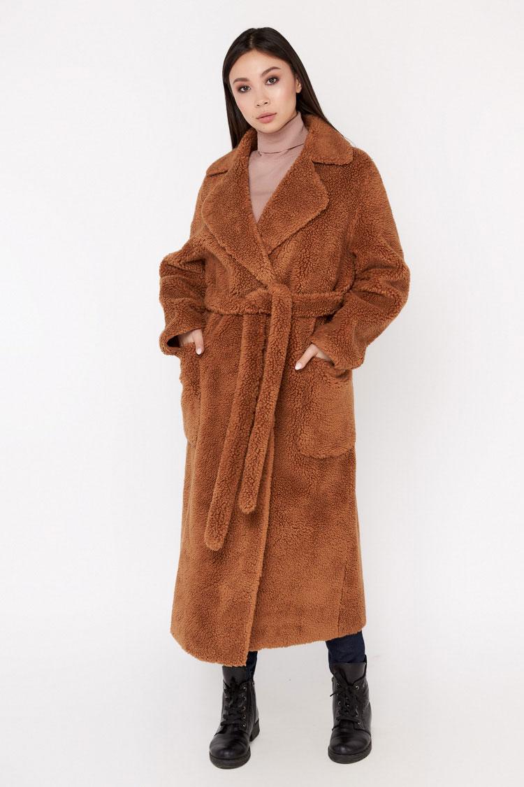 Пальто женское из шерсти коричневое, модель EM-2