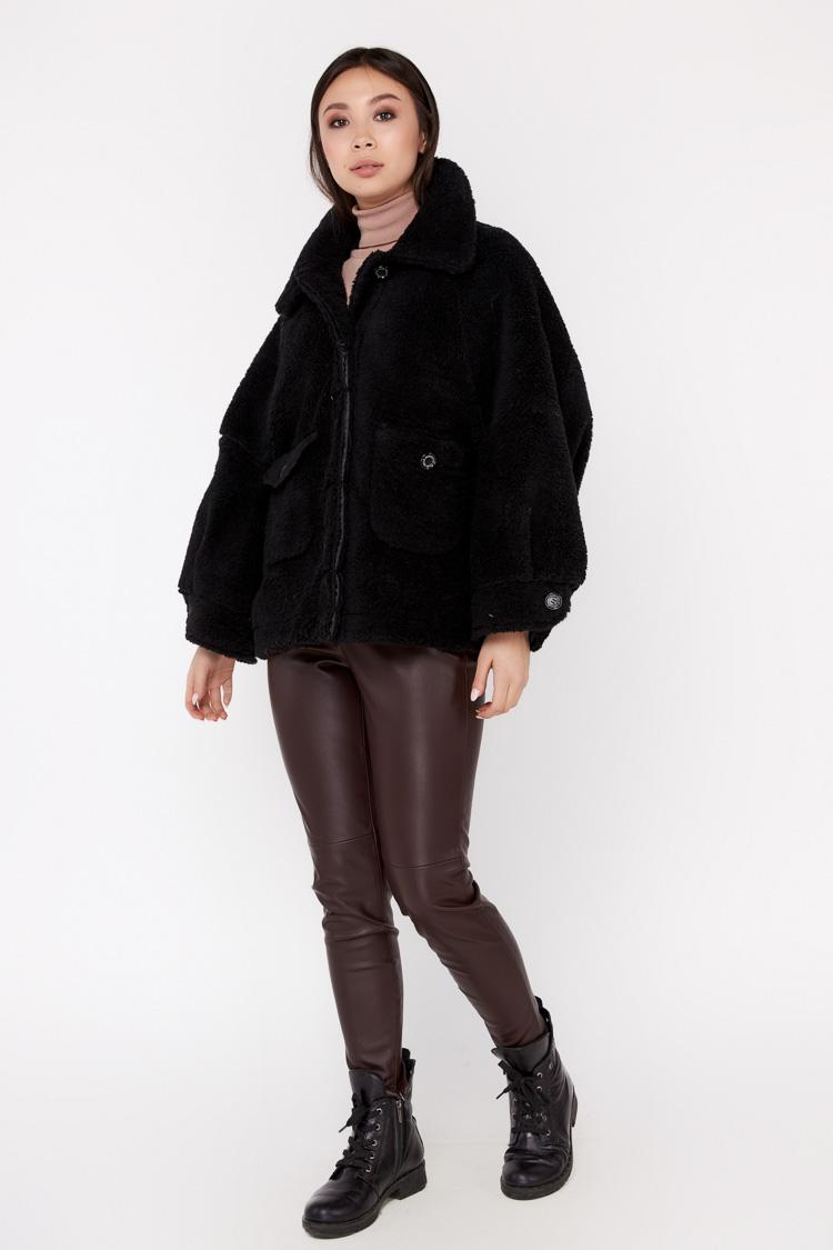 Пальто женское из шерсти черное, модель EM-35