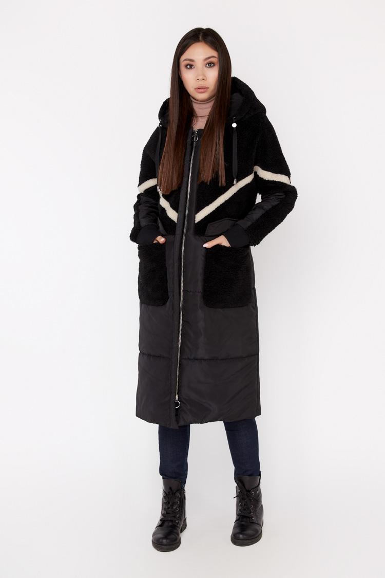 Пальто женское из шерсти черное, модель EM-3/KPS