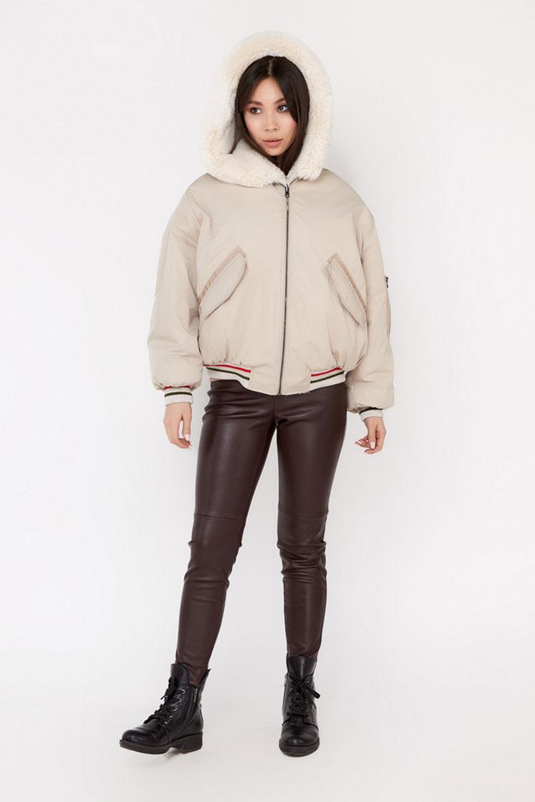 Пальто женское из шерсти бежевое, модель A-1/KPS/двухст