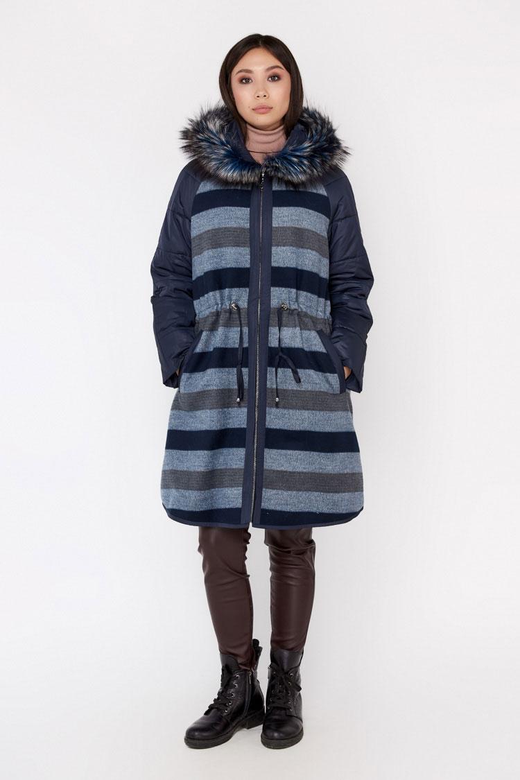 Пальто женское из шерсти мультиколор, модель EM-014/KPS