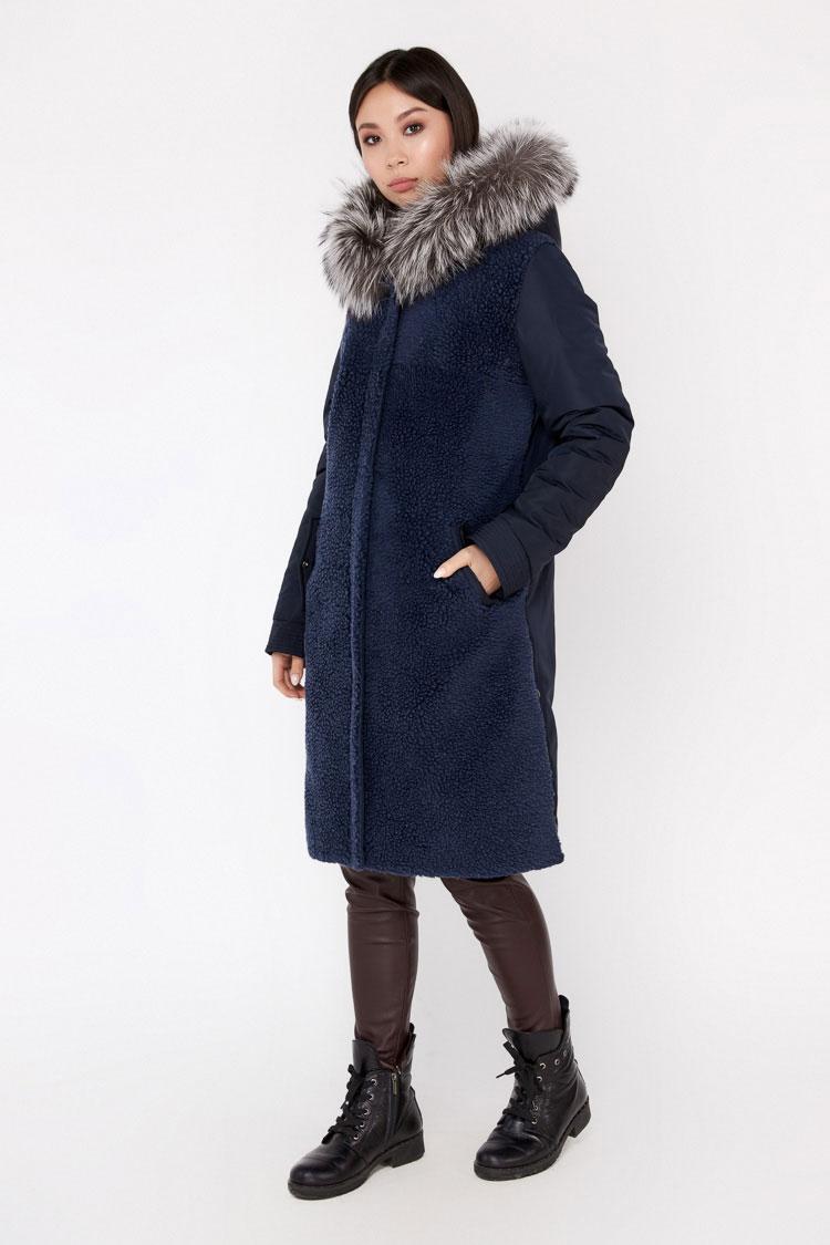 Пальто женское из шерсти мультиколор, модель EM-0141/KPS