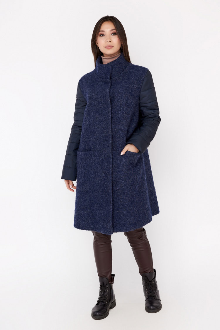 Пальто женское из шерсти мультиколор, модель EM-011