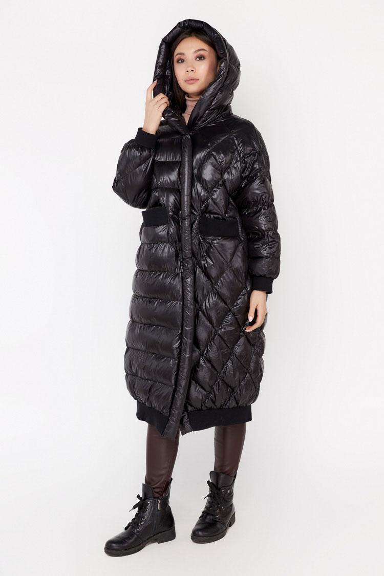 Пальто женское из полиэстера черное, модель 0402/KPS