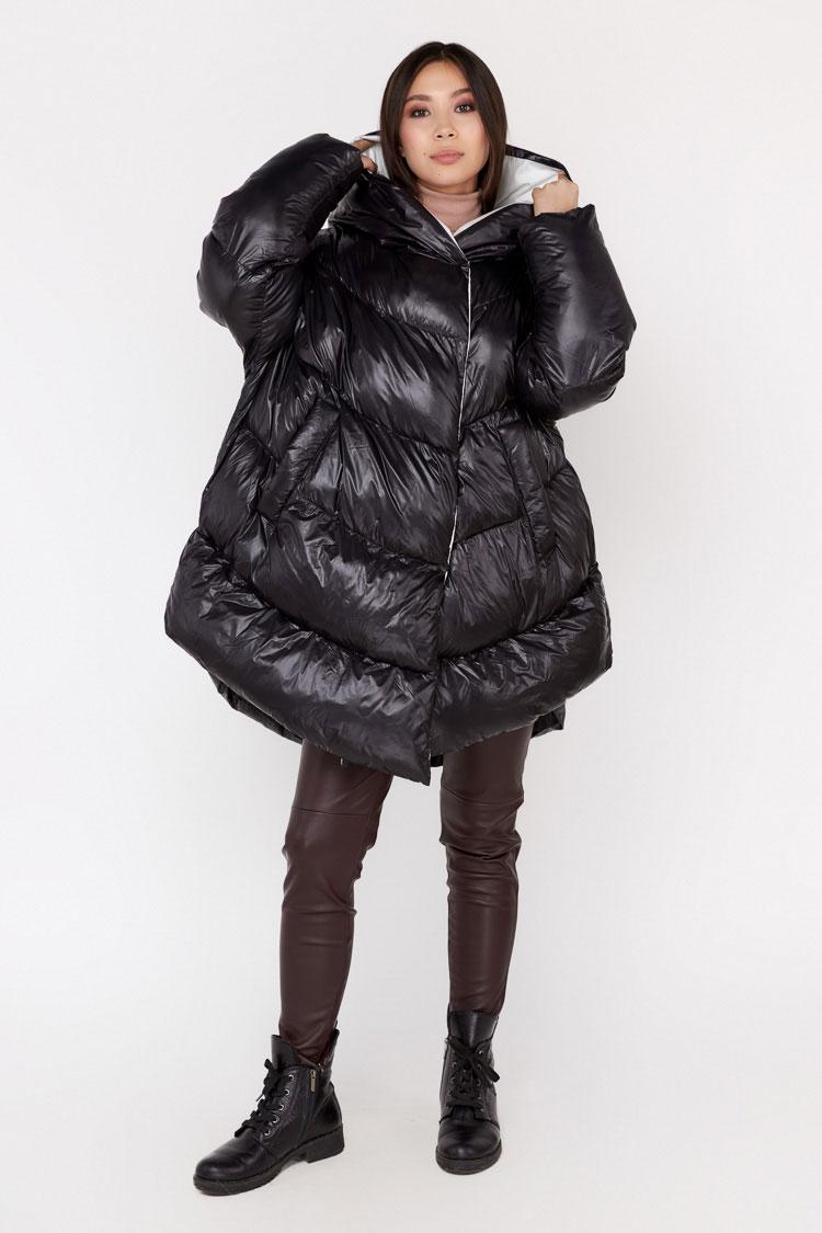 Пальто женское из полиэстера черное, модель 0502/KPS