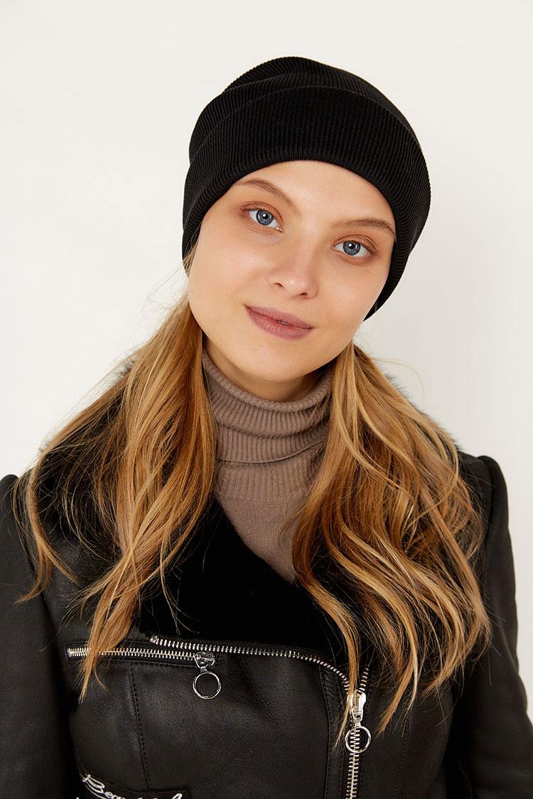 Шапка из коттон черная, модель Peri Flip Uni
