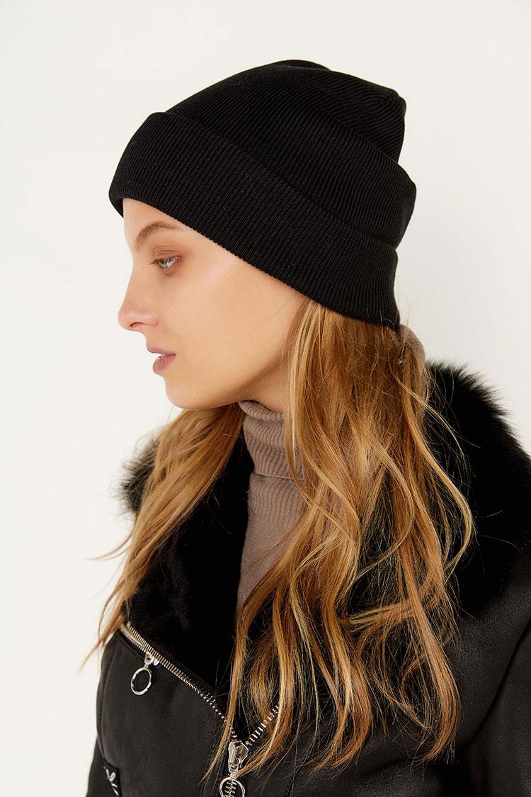 Шапка из коттона черная, модель Peri Flip Uni