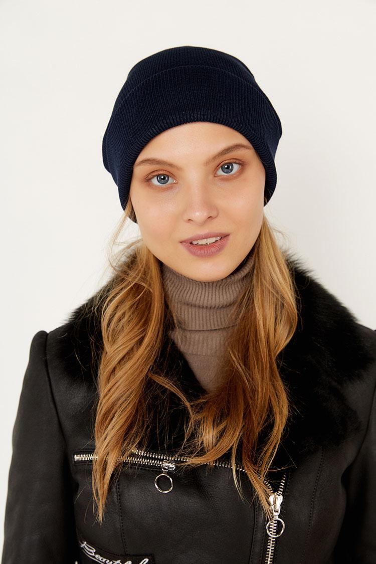 Шапка из коттон синяя, модель Peri Flip Uni
