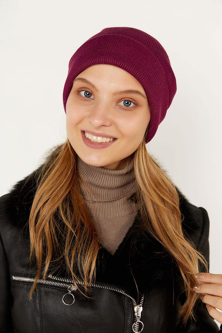 Шапка женская из коттон фиолетовая, модель Peri Flip Uni