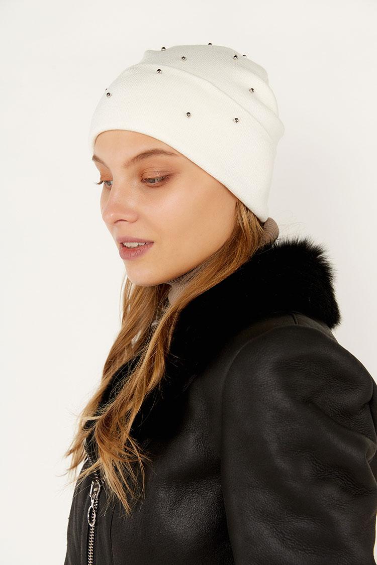 Шапка женская из коттона белая, модель Holly