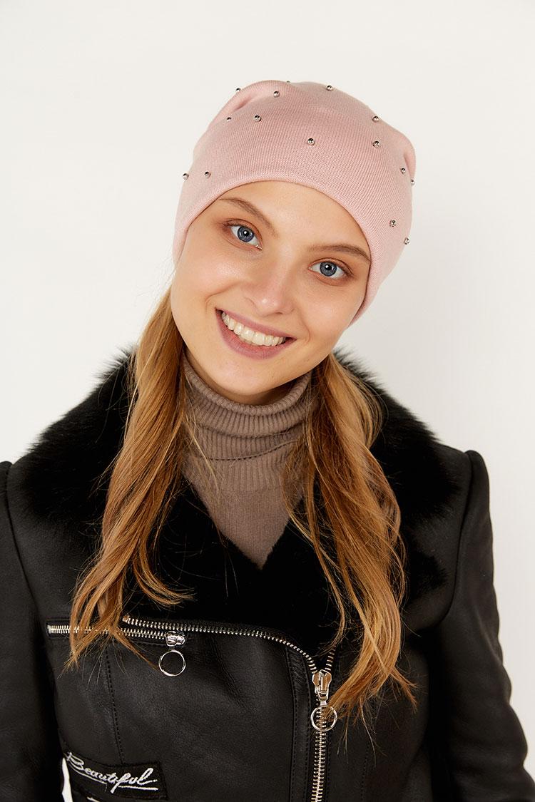 Шапка женская из коттон розовая, модель Holly