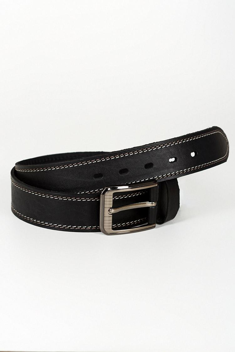 Ремень мужской из натуральной кожи черный, модель джинс 1307