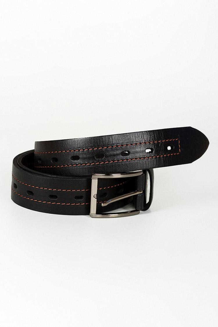 Ремень мужской из натуральной кожи черный, модель джинс 1307/1