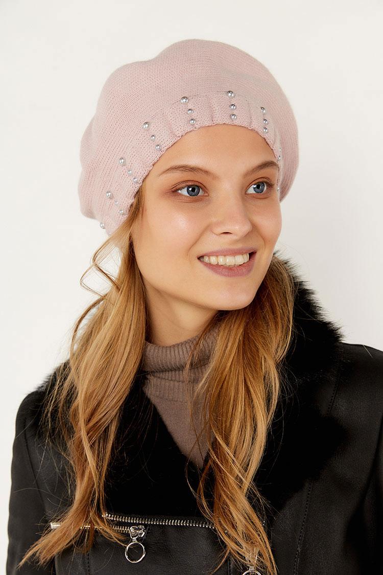 Шапка женская из вязки розовая, модель берет Класс