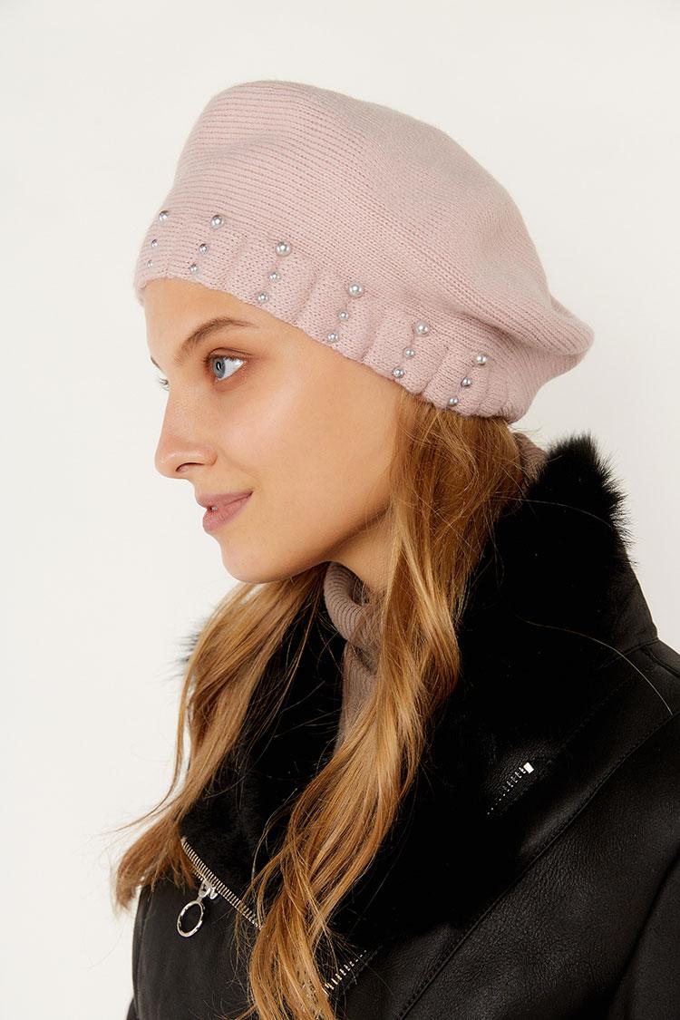 Шапка женская из трикотажа розовая, модель берет Класс