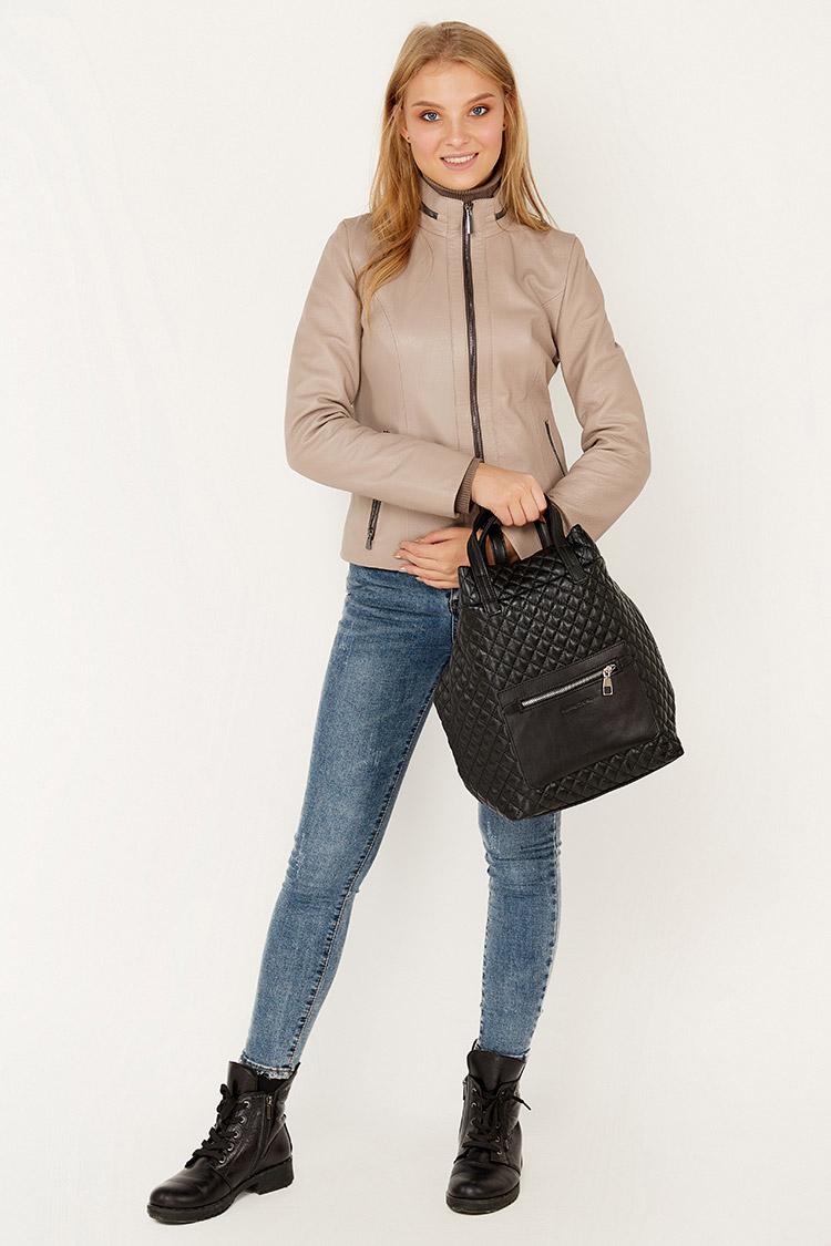 Сумка женская из натуральной кожи черная, модель 178-01/рюкзак