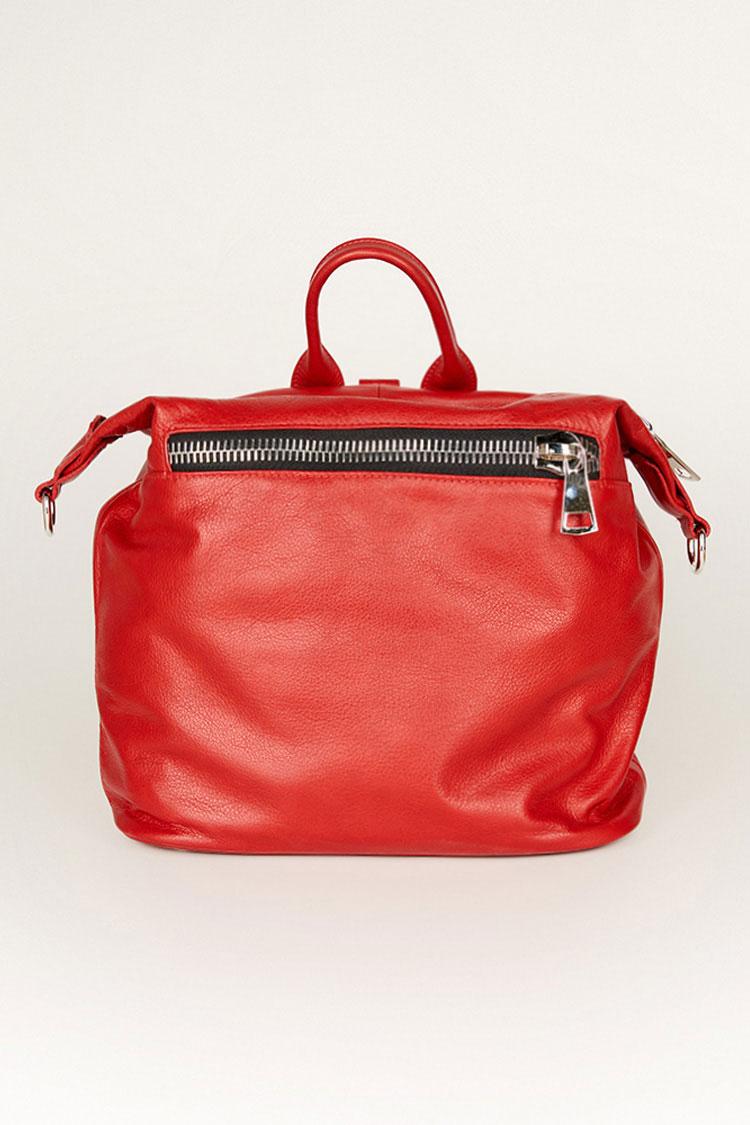 Сумка женская из натуральной кожи красная, модель 190-01/рюкзак