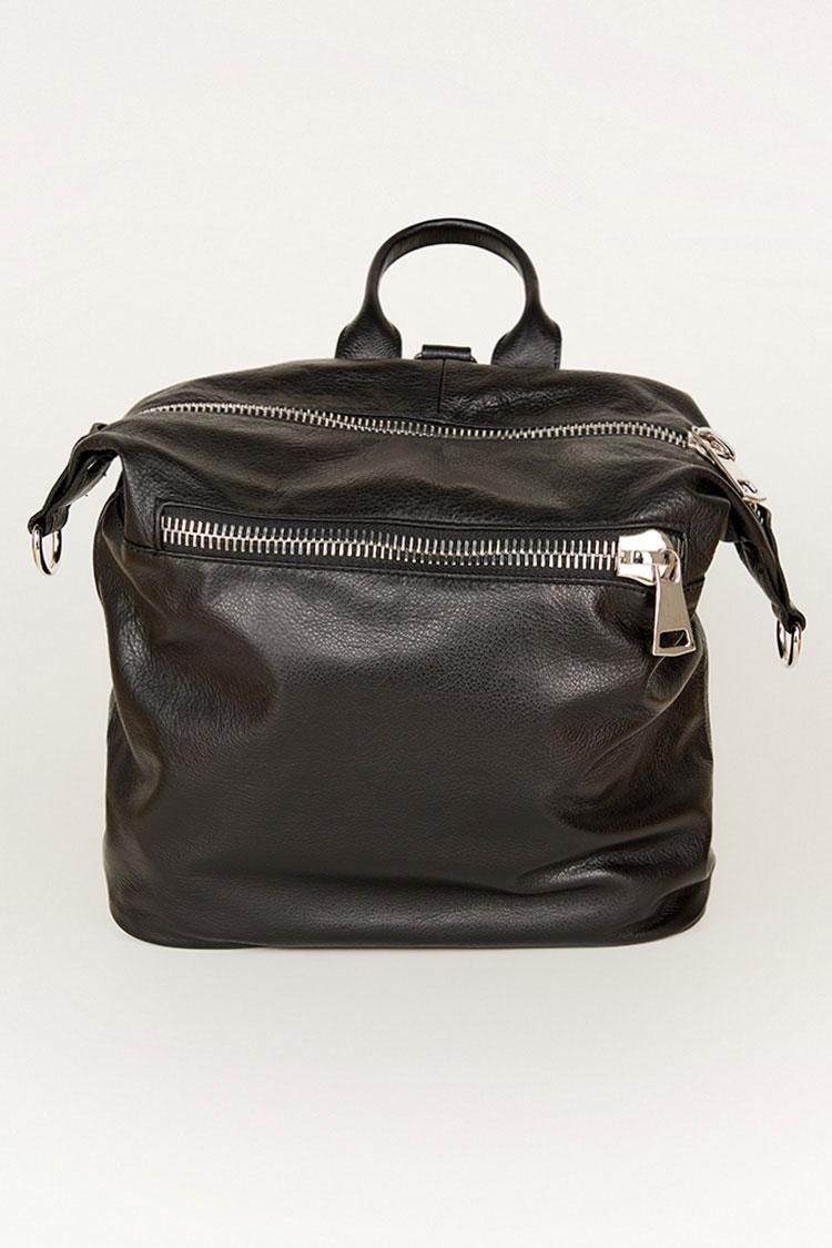 Сумка женская из натуральной кожи черная, модель 190-01/рюкзак