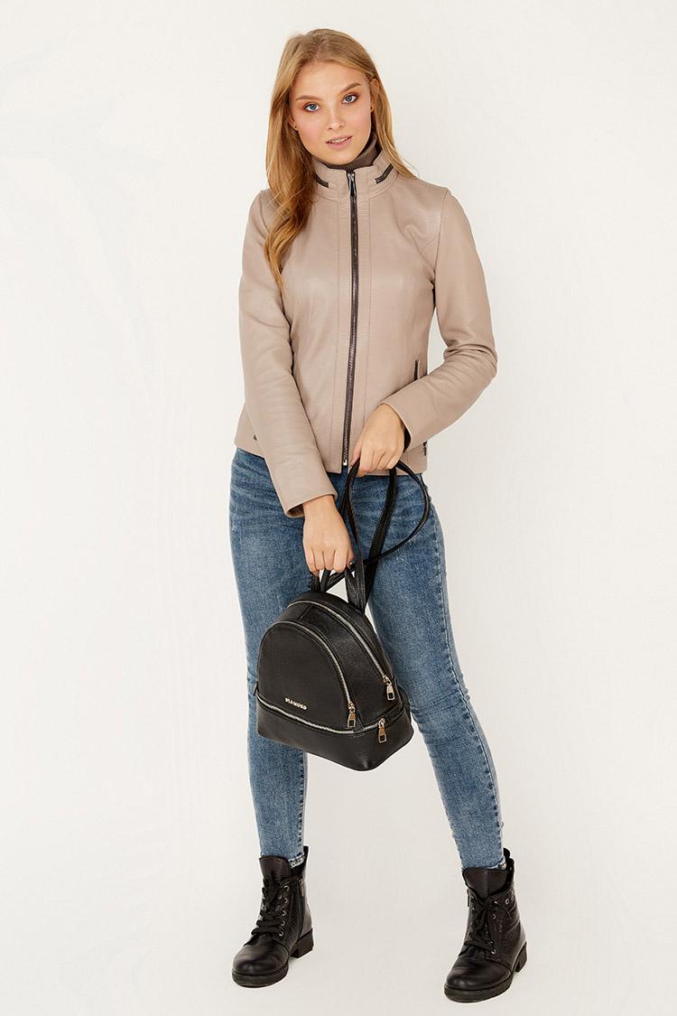 Сумка женская из натуральной кожи черная, модель 1718/рюкзак