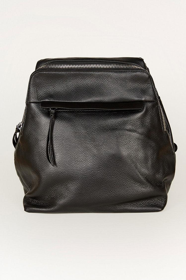 Сумка женская из натуральной кожи черная, модель C 0204/рюкзак