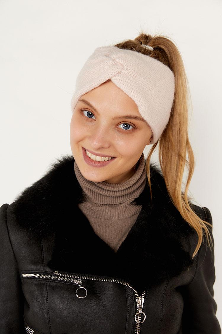 Шапка женская из шерсти розовая, модель повязка/бант/SR2001