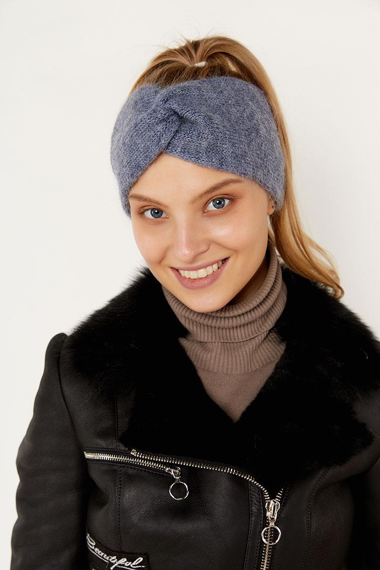 Шапка женская из шерсти синяя, модель повязка/бант/SR2001