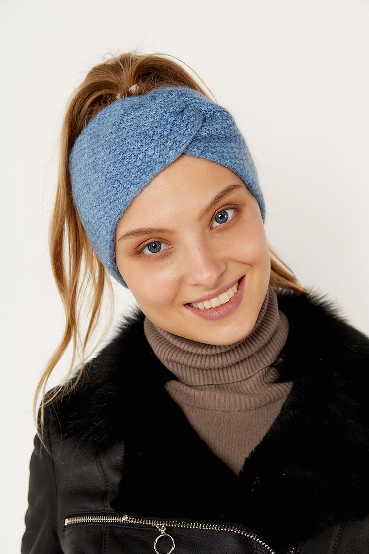 Шапка женская из шерсти синяя, модель повязка/бант рис/SR3044