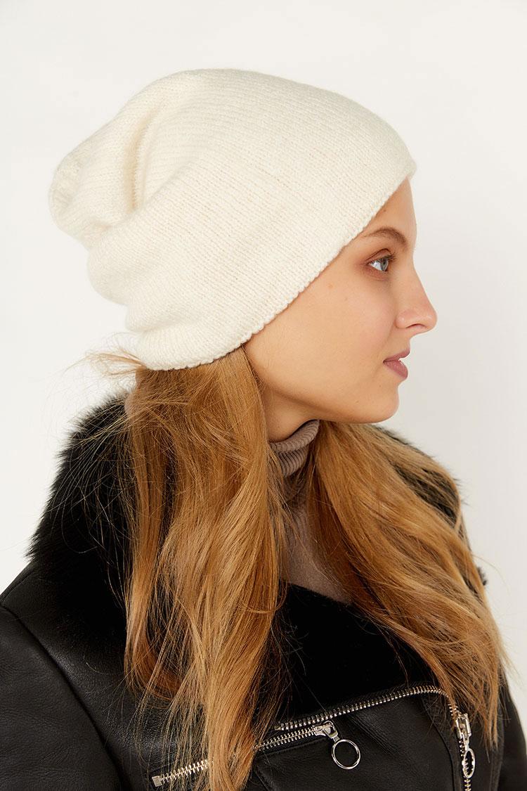 Шапка женская из шерсти белая, модель колпак/веточка/SR3003