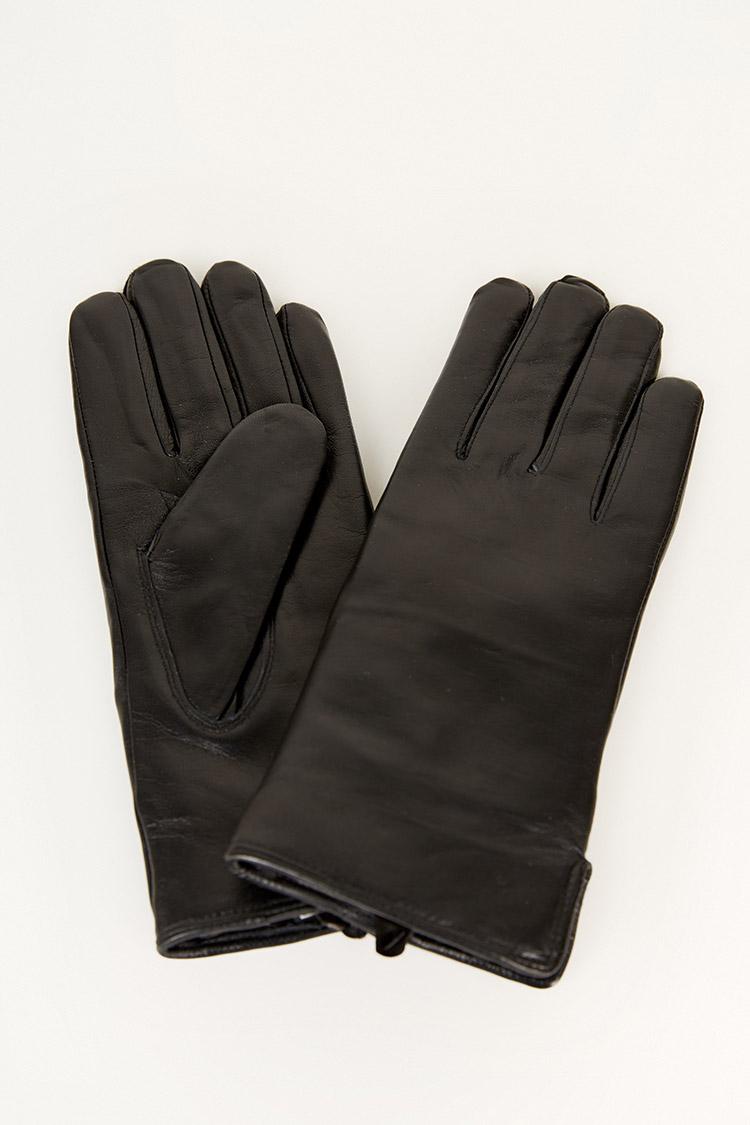 Перчатки женские из натуральной кожи черные, модель 101