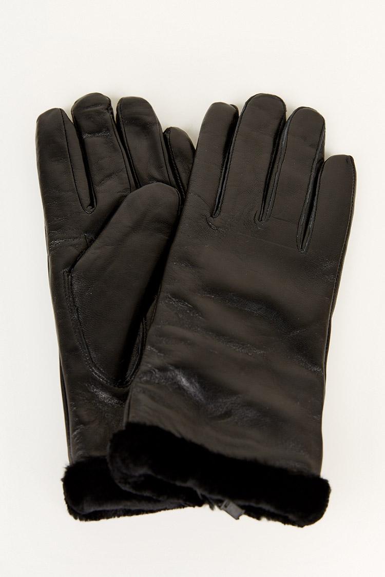 Перчатки женские из натуральной кожи черные, модель 202