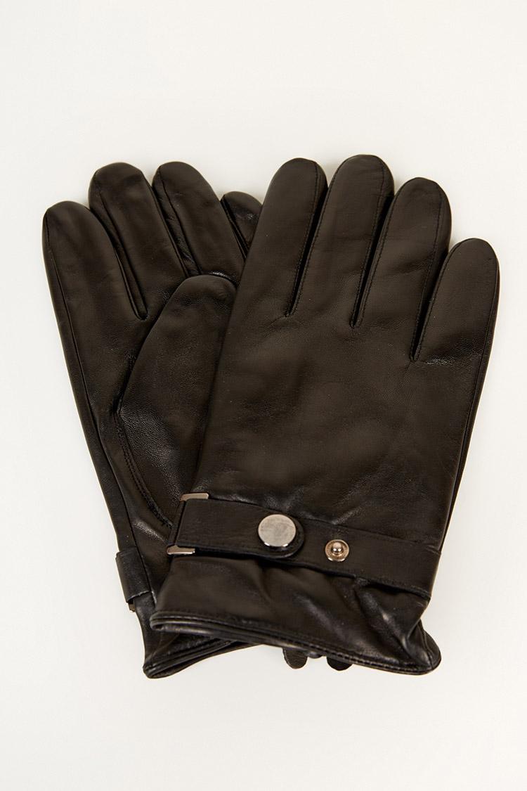Перчатки мужские из натуральной кожи черные, модель 204