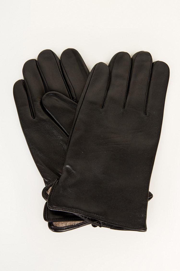 Перчатки мужские из натуральной кожи черные, модель 201