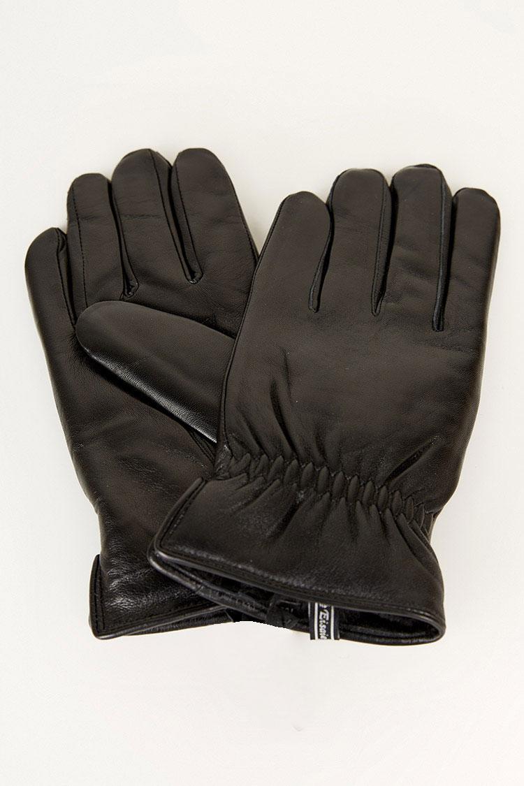 Перчатки мужские из натуральной кожи черные, модель 208