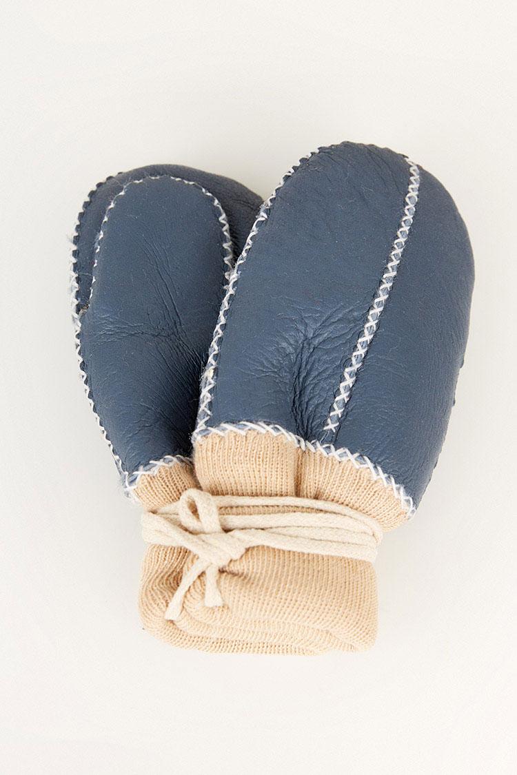Перчатки женские из натуральной кожи синие, модель 2007