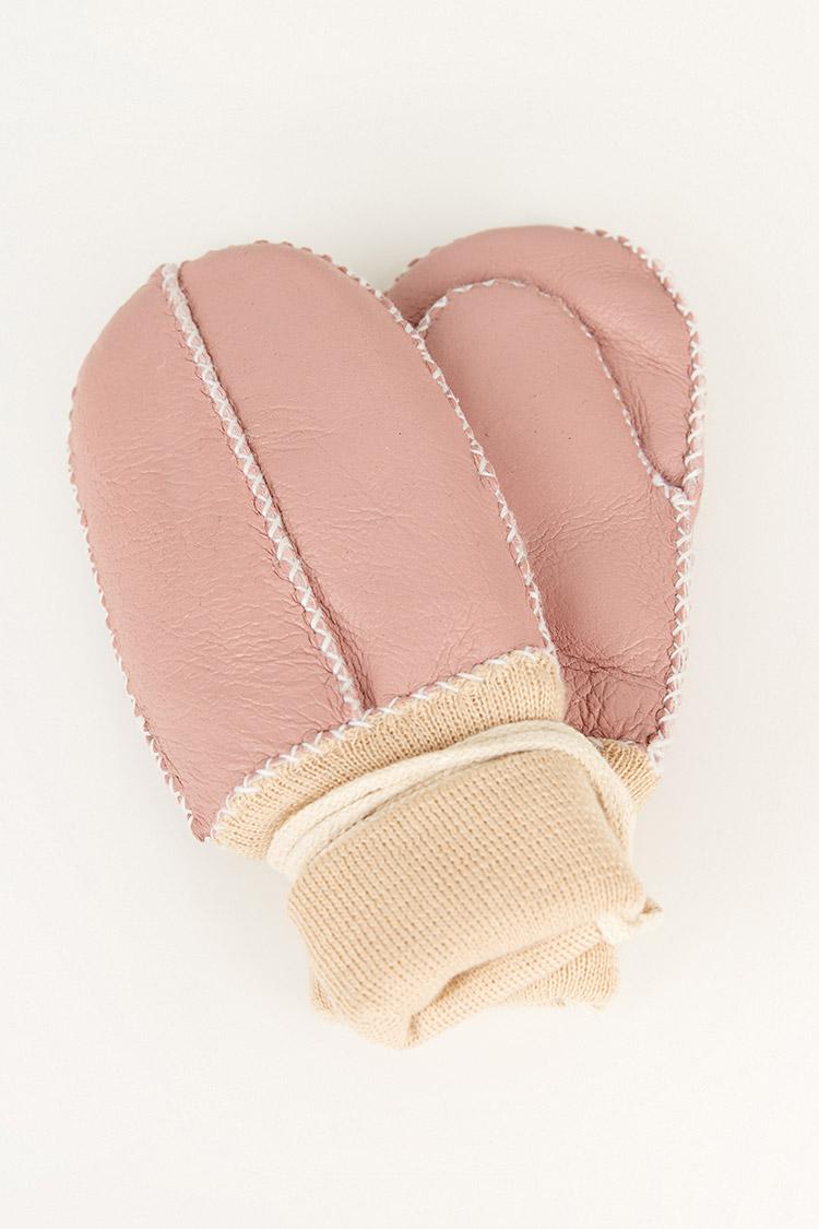 Перчатки женские из натуральной кожи розовые, модель 2007