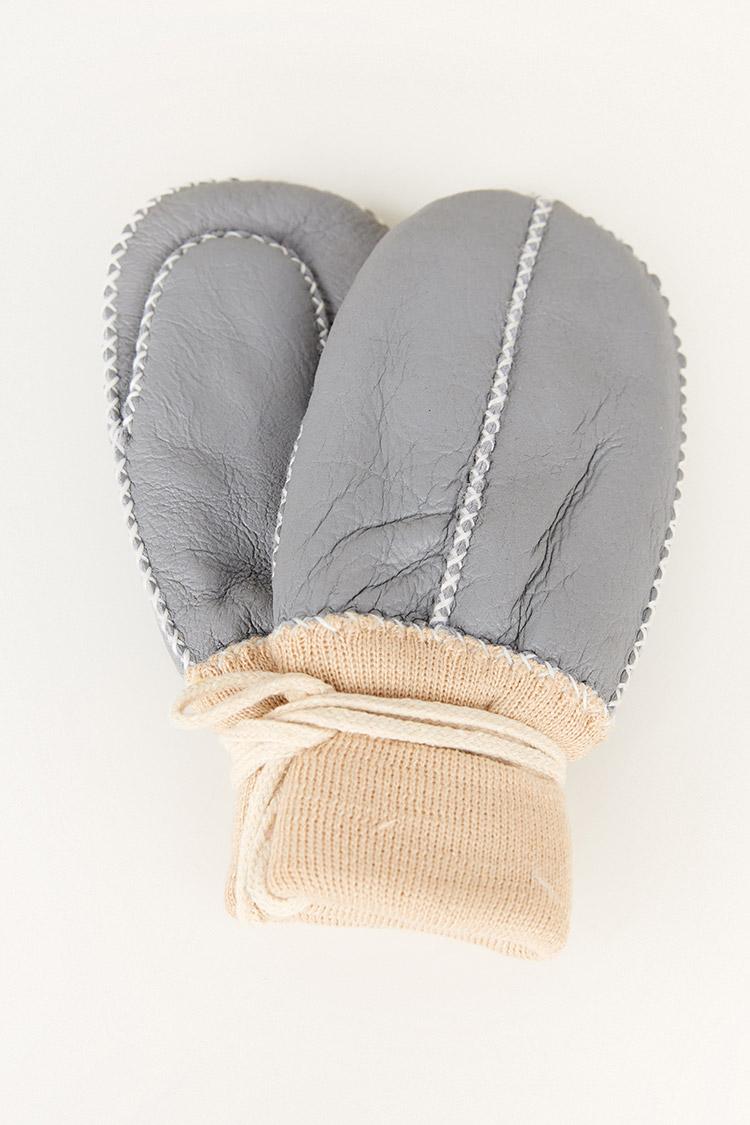 Перчатки женские из натуральной кожи серые, модель 2007