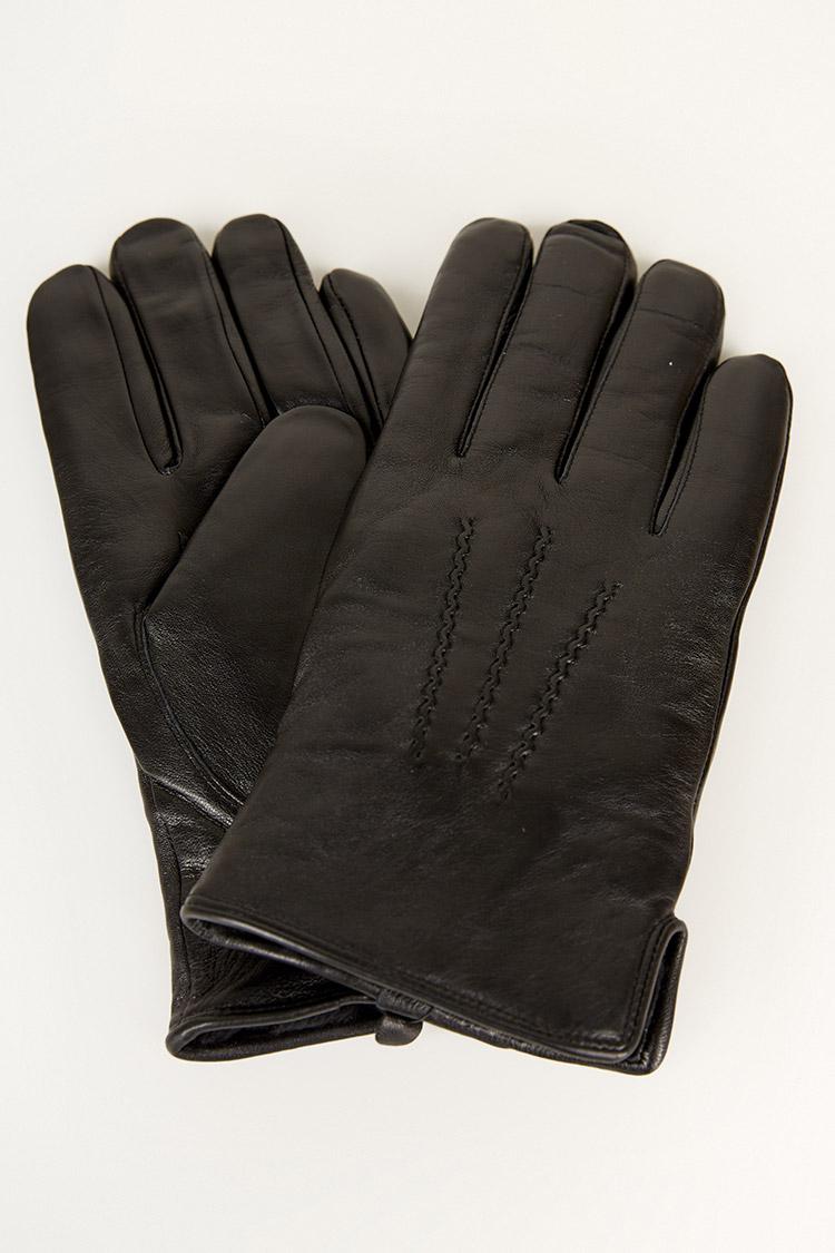 Перчатки мужские из натуральной кожи черные, модель 210