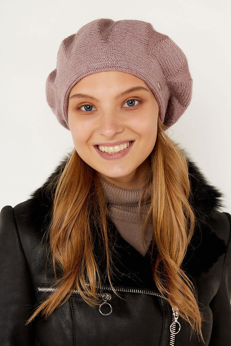 Шапка женская из вязки розовая, модель берет Ромб