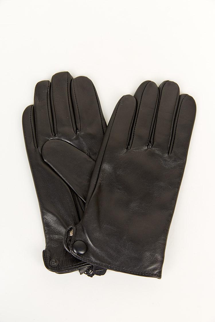 Перчатки мужские из натуральной кожи черные, модель 1922