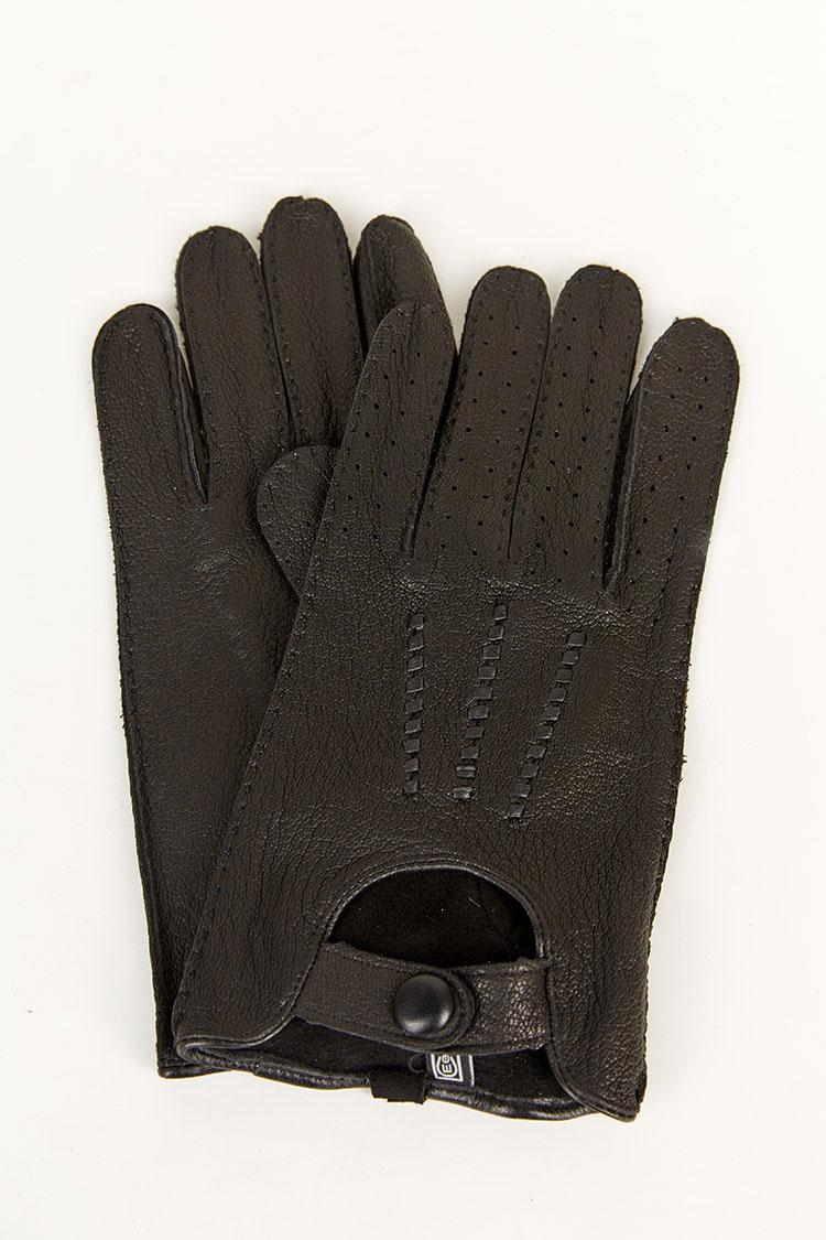 Перчатки мужские из натуральной кожи черные, модель 1942