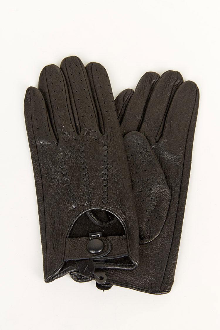 Перчатки мужские из натуральной кожи черные, модель 1852